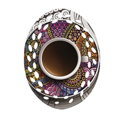 Ethnic Pattern Ornaments And Coffee Cups Vector Oval Filigree Ornament (Two Sides)