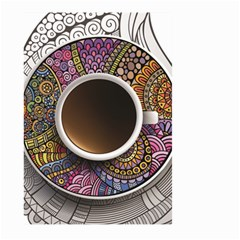 Ethnic Pattern Ornaments And Coffee Cups Vector Large Garden Flag (two Sides)