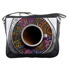 Ethnic Pattern Ornaments And Coffee Cups Vector Messenger Bags