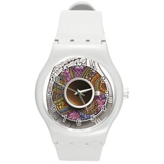 Ethnic Pattern Ornaments And Coffee Cups Vector Round Plastic Sport Watch (m)