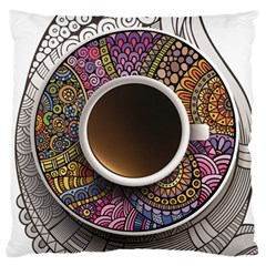 Ethnic Pattern Ornaments And Coffee Cups Vector Large Cushion Case (One Side)