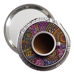 Ethnic Pattern Ornaments And Coffee Cups Vector 3  Handbag Mirrors