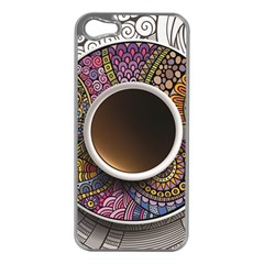 Ethnic Pattern Ornaments And Coffee Cups Vector Apple Iphone 5 Case (silver)
