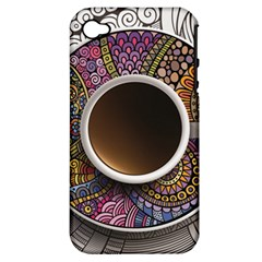 Ethnic Pattern Ornaments And Coffee Cups Vector Apple Iphone 4/4s Hardshell Case (pc+silicone)