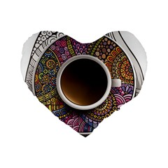 Ethnic Pattern Ornaments And Coffee Cups Vector Standard 16  Premium Heart Shape Cushions