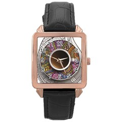 Ethnic Pattern Ornaments And Coffee Cups Vector Rose Gold Leather Watch