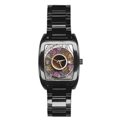 Ethnic Pattern Ornaments And Coffee Cups Vector Stainless Steel Barrel Watch