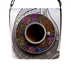 Ethnic Pattern Ornaments And Coffee Cups Vector Flap Messenger Bag (l)