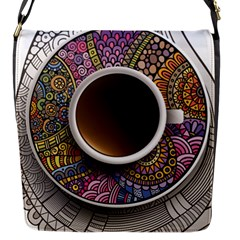 Ethnic Pattern Ornaments And Coffee Cups Vector Flap Messenger Bag (s)