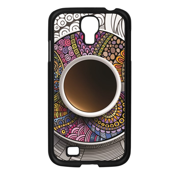 Ethnic Pattern Ornaments And Coffee Cups Vector Samsung Galaxy S4 I9500/ I9505 Case (Black)