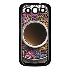 Ethnic Pattern Ornaments And Coffee Cups Vector Samsung Galaxy S3 Back Case (black)