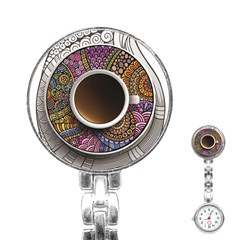 Ethnic Pattern Ornaments And Coffee Cups Vector Stainless Steel Nurses Watch