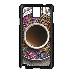 Ethnic Pattern Ornaments And Coffee Cups Vector Samsung Galaxy Note 3 N9005 Case (black)
