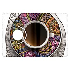Ethnic Pattern Ornaments And Coffee Cups Vector Kindle Fire Hdx Flip 360 Case
