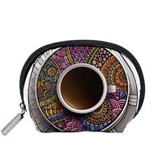 Ethnic Pattern Ornaments And Coffee Cups Vector Accessory Pouches (small)