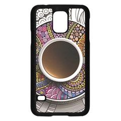 Ethnic Pattern Ornaments And Coffee Cups Vector Samsung Galaxy S5 Case (black)