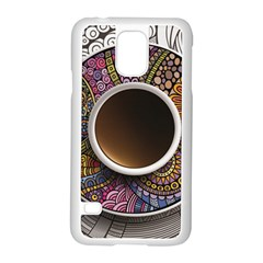 Ethnic Pattern Ornaments And Coffee Cups Vector Samsung Galaxy S5 Case (white)