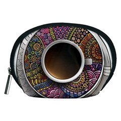 Ethnic Pattern Ornaments And Coffee Cups Vector Accessory Pouches (Medium)