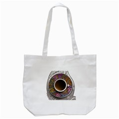Ethnic Pattern Ornaments And Coffee Cups Vector Tote Bag (white)
