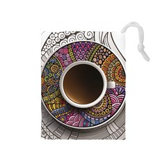 Ethnic Pattern Ornaments And Coffee Cups Vector Drawstring Pouches (Medium)