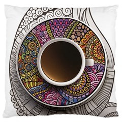 Ethnic Pattern Ornaments And Coffee Cups Vector Large Flano Cushion Case (two Sides)