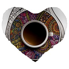 Ethnic Pattern Ornaments And Coffee Cups Vector Large 19  Premium Flano Heart Shape Cushions