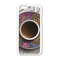 Ethnic Pattern Ornaments And Coffee Cups Vector Apple Iphone 6/6s White Enamel Case