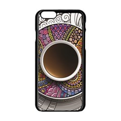 Ethnic Pattern Ornaments And Coffee Cups Vector Apple Iphone 6/6s Black Enamel Case