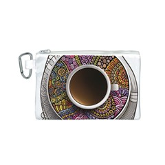 Ethnic Pattern Ornaments And Coffee Cups Vector Canvas Cosmetic Bag (s)