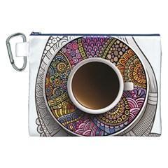 Ethnic Pattern Ornaments And Coffee Cups Vector Canvas Cosmetic Bag (xxl)