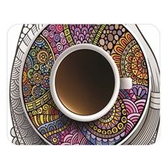 Ethnic Pattern Ornaments And Coffee Cups Vector Double Sided Flano Blanket (large)