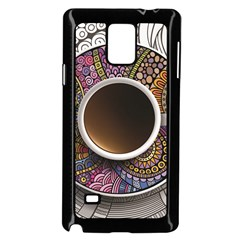Ethnic Pattern Ornaments And Coffee Cups Vector Samsung Galaxy Note 4 Case (black)