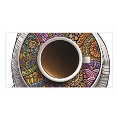 Ethnic Pattern Ornaments And Coffee Cups Vector Satin Shawl