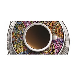 Ethnic Pattern Ornaments And Coffee Cups Vector Satin Wrap