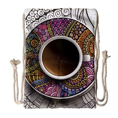 Ethnic Pattern Ornaments And Coffee Cups Vector Drawstring Bag (large)