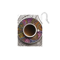 Ethnic Pattern Ornaments And Coffee Cups Vector Drawstring Pouches (xs)