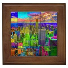 New York City Skyline Framed Tiles