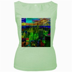 New York City Skyline Women s Green Tank Top