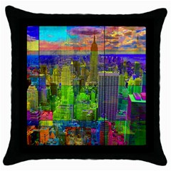 New York City Skyline Throw Pillow Case (black)