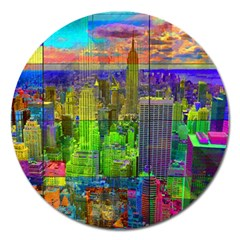New York City Skyline Magnet 5  (Round)