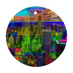 New York City Skyline Round Ornament (two Sides)