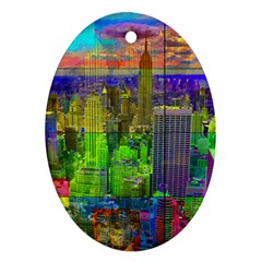 New York City Skyline Oval Ornament (Two Sides)