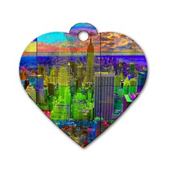 New York City Skyline Dog Tag Heart (two Sides)