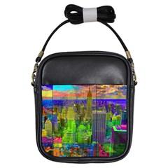 New York City Skyline Girls Sling Bags