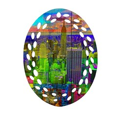 New York City Skyline Oval Filigree Ornament (two Sides)