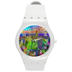 New York City Skyline Round Plastic Sport Watch (m)