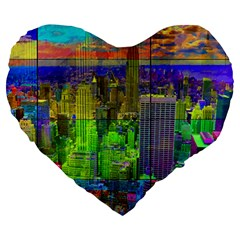 New York City Skyline Large 19  Premium Heart Shape Cushions