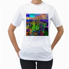 New York City Skyline Women s T Shirt (white)