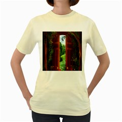 Beautiful World Entry Door Fantasy Women s Yellow T Shirt