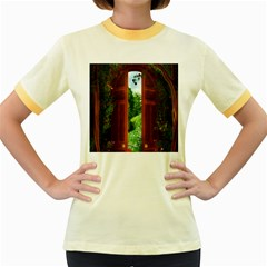 Beautiful World Entry Door Fantasy Women s Fitted Ringer T Shirts